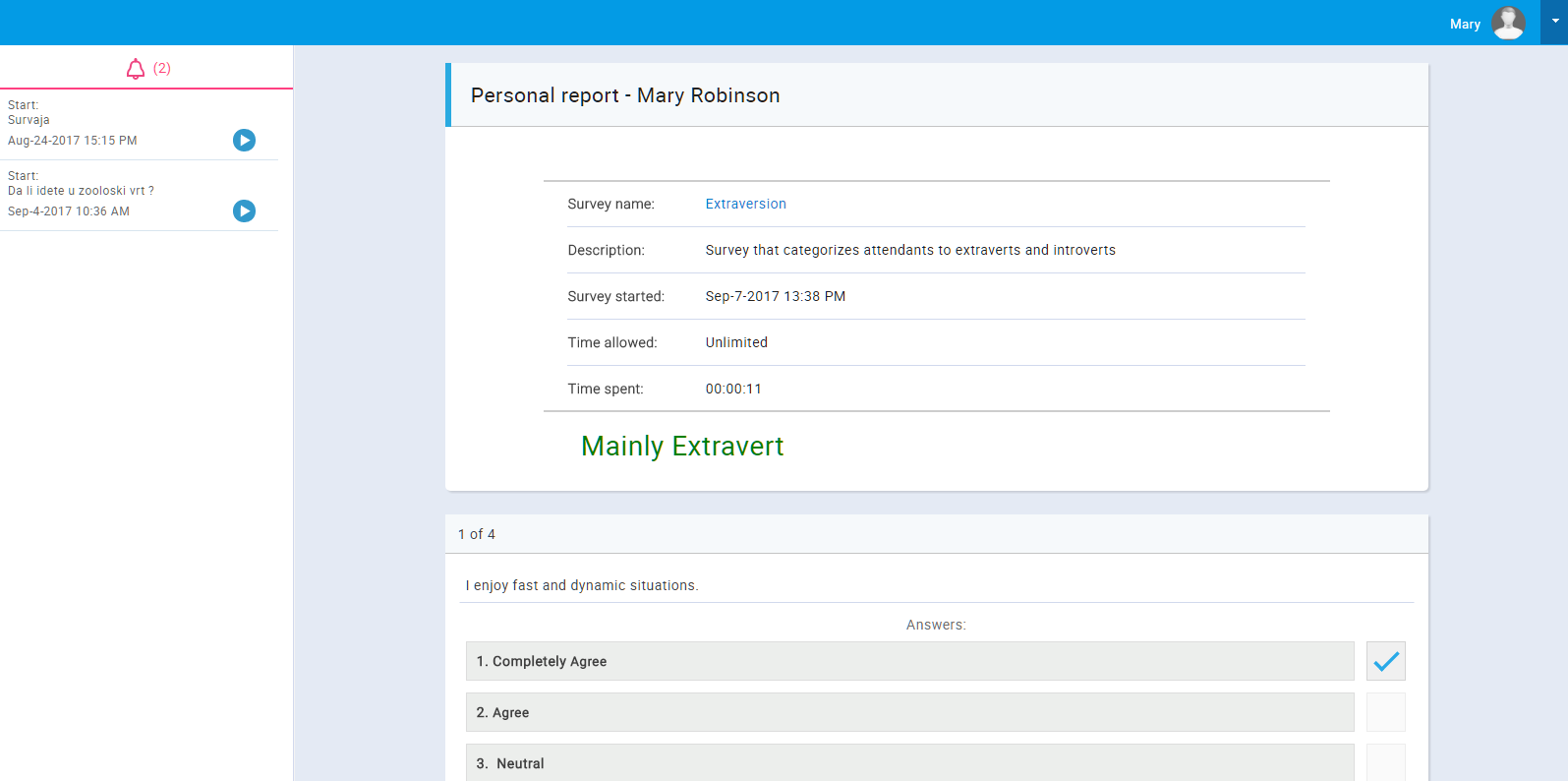 Survey Personal Report