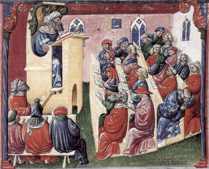 Laurentius de Voltolina - Illustration of education in 14th century