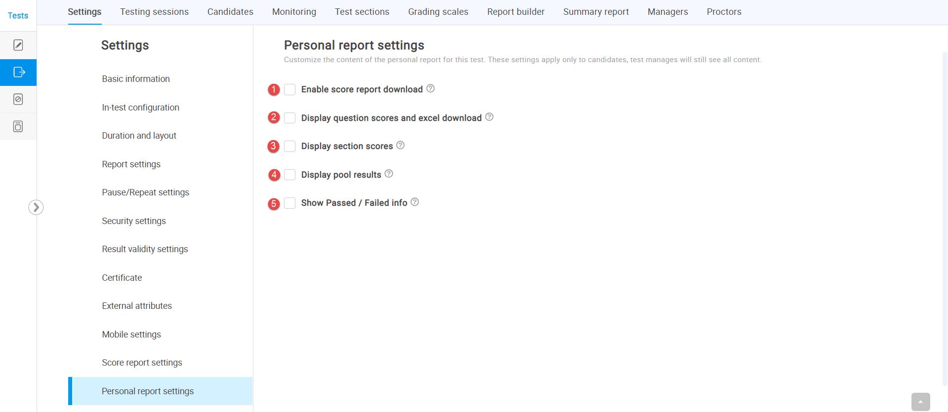 Personal report settings